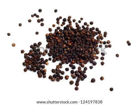 Black pepper seeds isolated on white background #124197838