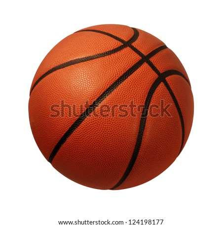 Basketball isolated on a white background as a sports and fitness symbol of a team leisure activity playing with a leather ball dribbling and passing in competition tournaments. #124198177