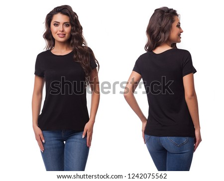 Mockup of a template of a black woman's t-shirt on a white background. Front view, rear view. The beautiful girl the brunette in a black t-shirt #1242075562