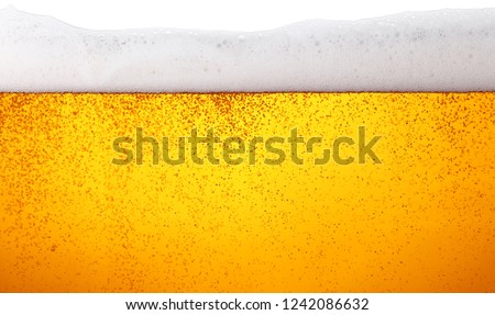 Close up background texture of lager beer with bubbles and froth in glass, low angle side view #1242086632