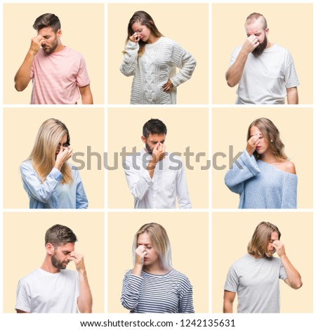 Collage of group people, women and men over colorful yellow isolated background tired rubbing nose and eyes feeling fatigue and headache. Stress and frustration concept. #1242135631