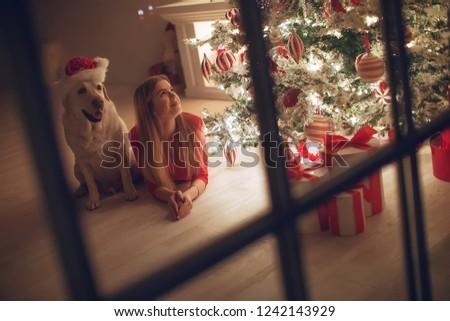 Christmas interior and woman #1242143929