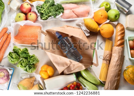 Grocery. Different health food. Grocery shopping concept. Balanced diet. Top view  #1242236881