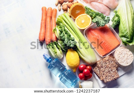 Healthy eating plan. Diet and meal planning. Top view. Flat lay with copy space #1242237187