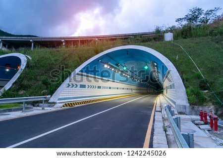 Road tunnel in the mountains #1242245026