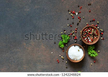 A variety of spices on a concrete background. Salt. Pepper. Top view #1242248824