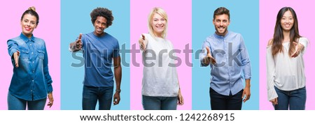 Collage of group of young casual people over colorful isolated background smiling friendly offering handshake as greeting and welcoming. Successful business. Royalty-Free Stock Photo #1242268915