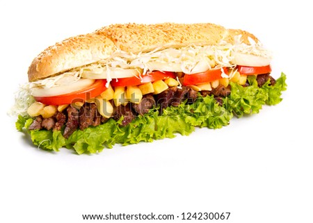Sub sandwich with grilled beef #124230067