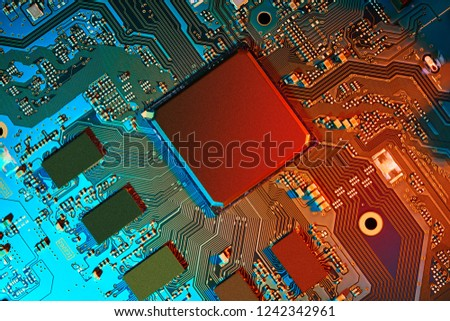 Electronic circuit board close up. #1242342961