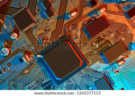 Electronic circuit board close up. #1242377113