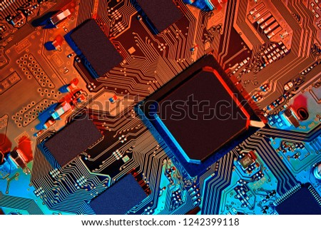 Electronic circuit board close up. #1242399118