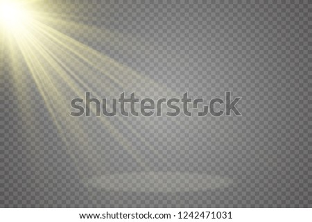 White scene on with spotlights. Measure of action.Special lens flash, light effect. The flash flashes rays and searchlight. illust.White glowing light. Beautiful star Light from the rays.Sunlight. #1242471031