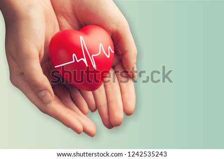 Close-up red Heart in hands, love concept #1242535243