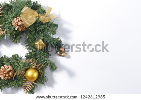 Christmas decorations on white background with copy space. #1242612985