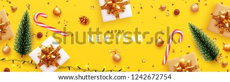 Happy New Year banner, Xmas sparkling lights garland with gifts box and golden tinsel. Horizontal Christmas posters, greeting cards, headers, website. Objects viewed from above. Flat lay, Top view #1242672754