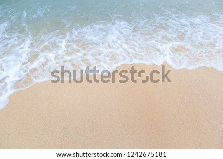 Clear beach and golden sand with beautiful waves are used as a background for the designs. #1242675181
