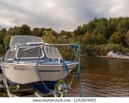 Loch Lomond, Scotland -  September 28 2018: boats moored at the lake #1242824881