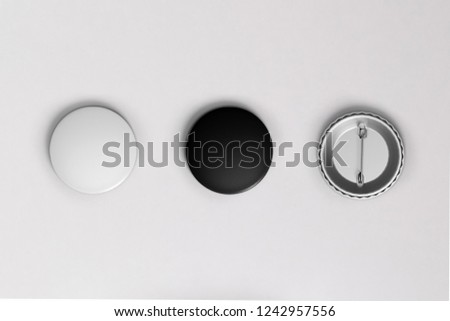 White and black pin button. Pin button set. Collection of realistic pin buttons. White blank badge pin brooch isolated on white background #1242957556