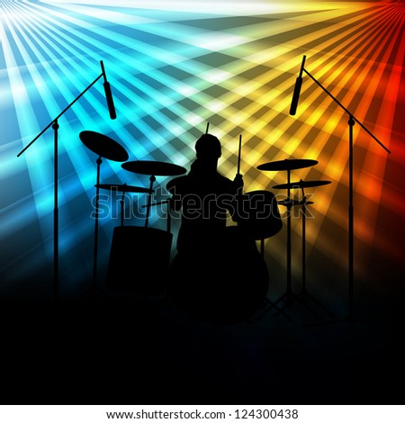 Rock band vector background with neon lights #124300438