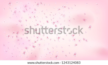 Nice Sakura Blossom Isolated Vector. Beautiful Flying 3d Petals Wedding Pattern. Japanese Nature Flowers Illustration. Valentine, Mother's Day Watercolor Nice Sakura Blossom Isolated on Rose #1243124083