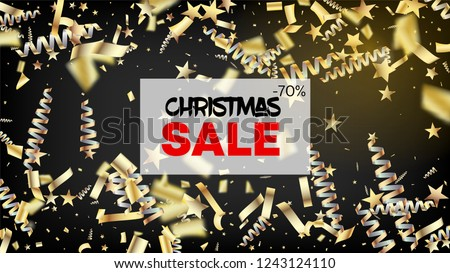 Sale Realistic Gold Tinsel Confetti, Flying Foil Blast. Cool Elegant Christmas, New Year, Birthday Party Holiday Scatter. Horizontal Magic Shapes Background. Realistic Gold Tinsel Confetti #1243124110