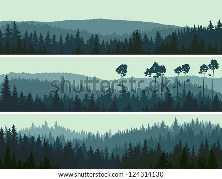 Horizontal abstract banners of hills of coniferous wood in dark green tone.