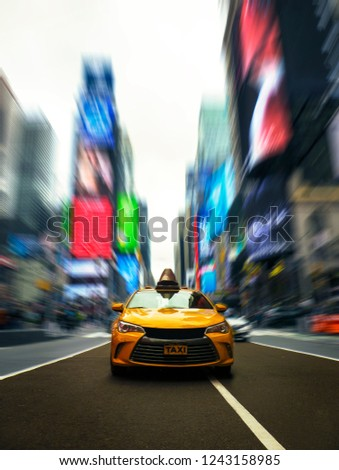 Iconic New York Taxi In Times Square With Dramatic Modern Effect #1243158985