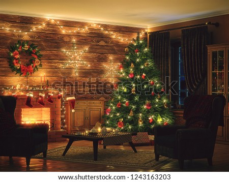 3D Rendering Christmas interior in night colors #1243163203