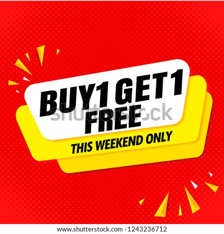 buy get free sale banner template red