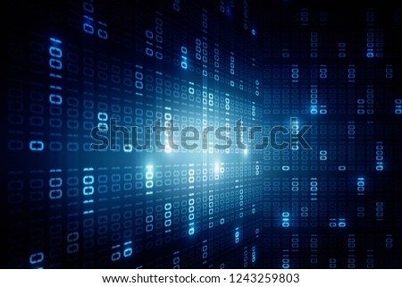 2d illustration abstract digital binary data on computer screen #1243259803