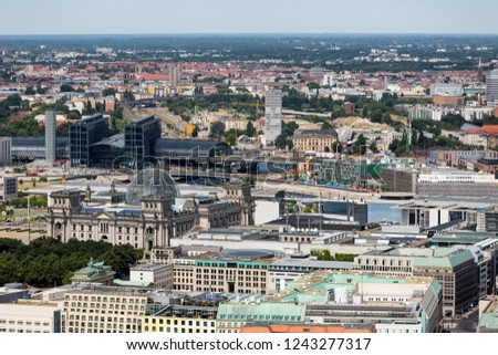 Aerial view of Berlin with the Reichstag and main station in Germany #1243277317