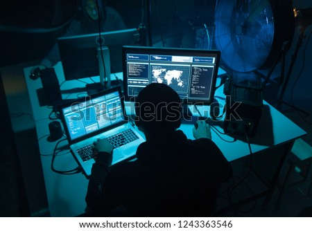 Wanted hackers coding virus ransomware using laptops and computers. Cyber attack, system breaking and malware concept. #1243363546