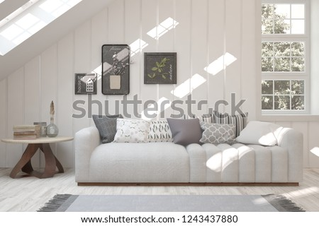 Idea of white room with sofa and summer landscape in window. Scandinavian interior design. 3D illustration #1243437880