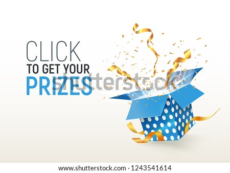Open textured blue box with confetti explosion inside. Click to get your prizes. Flying particles from giftbox vector illustration on white background
