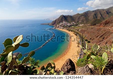 View of Las Teresitas Beach, Tenerife, Spain Royalty-Free Stock Photo #124354447