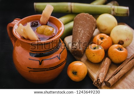 ponche navidad mexico, mexican fruits hot punch traditional for christmas #1243649230