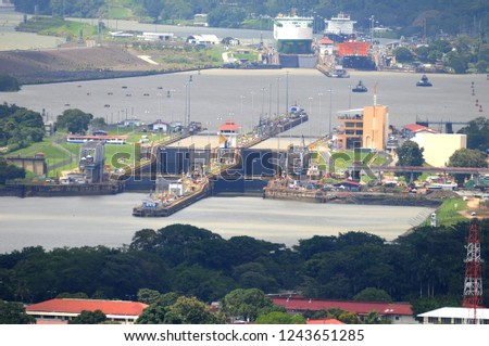 Panama canal and the locks. #1243651285