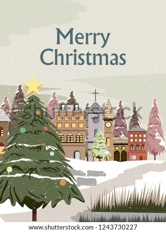 easy to edit vector illustration of snowy landscape wintertime background for Merry Christmas Holiday #1243730227