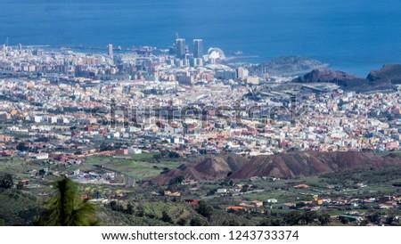 Santa Cruz de Tenerife/Spain - 02.10.2018: A nice aerial photo of the capitol of Tenerife #1243733374