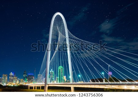 Margaret Hunt Hill Bridge at night  in Dallas, Texas,Margaret Hunt Hill Bridge and Dallas downtown skyline. #1243756306