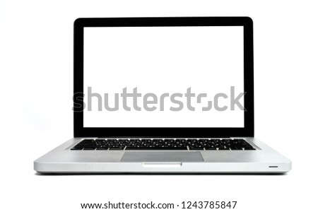 Close up of Laptop modern isolated on white background. Business office view. Front view of white screen blank A notebook. #1243785847
