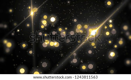 Abstract gold bokeh circles on a black background. Spectacular illustration with particles and rays. #1243811563