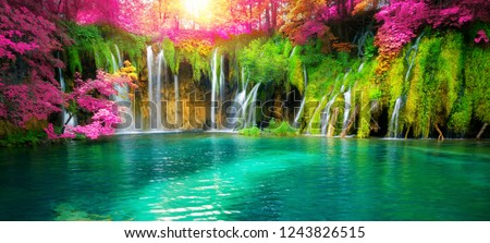 Exotic waterfall and lake panorama landscape of Plitvice Lakes, UNESCO natural world heritage and famous travel destination of Croatia. The waterfall located in central Croatia (Croatia proper). #1243826515