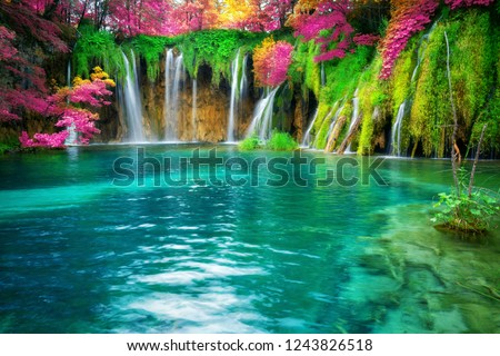 Exotic waterfall and lake landscape of Plitvice Lakes National Park, UNESCO natural world heritage and famous travel destination of Croatia. The lakes are located in central Croatia (Croatia proper). #1243826518