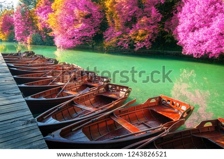 Boats parking at pier with turquoise lake landscape of Plitvice Lakes National Park, UNESCO heritage, famous travel destination of Croatia. The lakes are located in central Croatia (Croatia proper). #1243826521