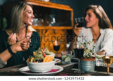 Vegetarian Restaurant. Female friends enjoying vegetarian meal in restaurant.    #1243975432