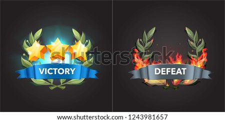 Game UI elements. Victory sreen with stars an bay leaf. Defeat screen enveloped by fire. Icons  for game, ui, banner, app, interface, slots, game development, playing cards and roulette.Vector #1243981657