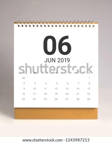 Simple desk calendar for June 2019 #1243987213