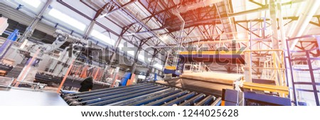 Fiberglass production industry equipment at manufacture background #1244025628