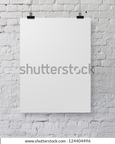 white poster on a rope Royalty-Free Stock Photo #124404496